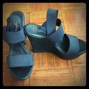 Candie's wedge heels sandals size 9 (Black) 5.5 in